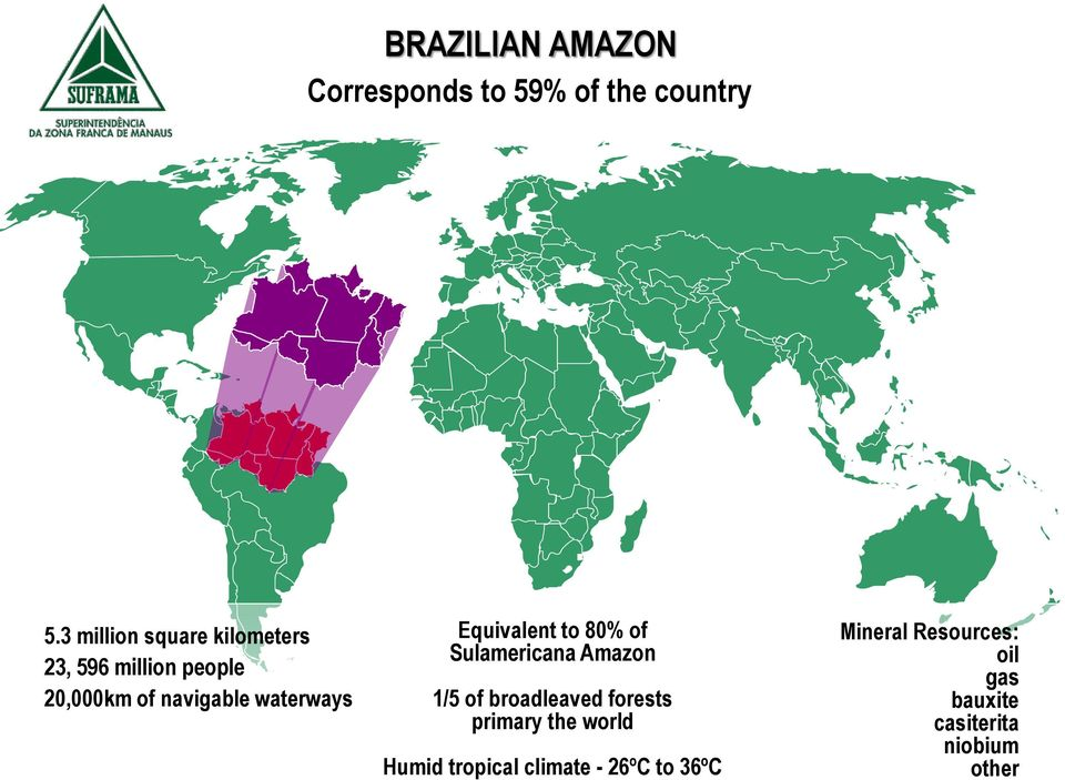 waterways Equivalent to 80% of Sulamericana Amazon 1/5 of broadleaved forests