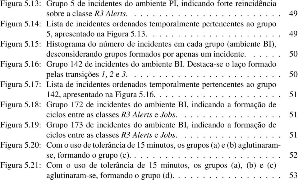 15: Histograma do número de incidentes em cada grupo (ambiente BI), desconsiderando grupos formados por apenas um incidente...... 50 Figura 5.16: Grupo 142 de incidentes do ambiente BI.