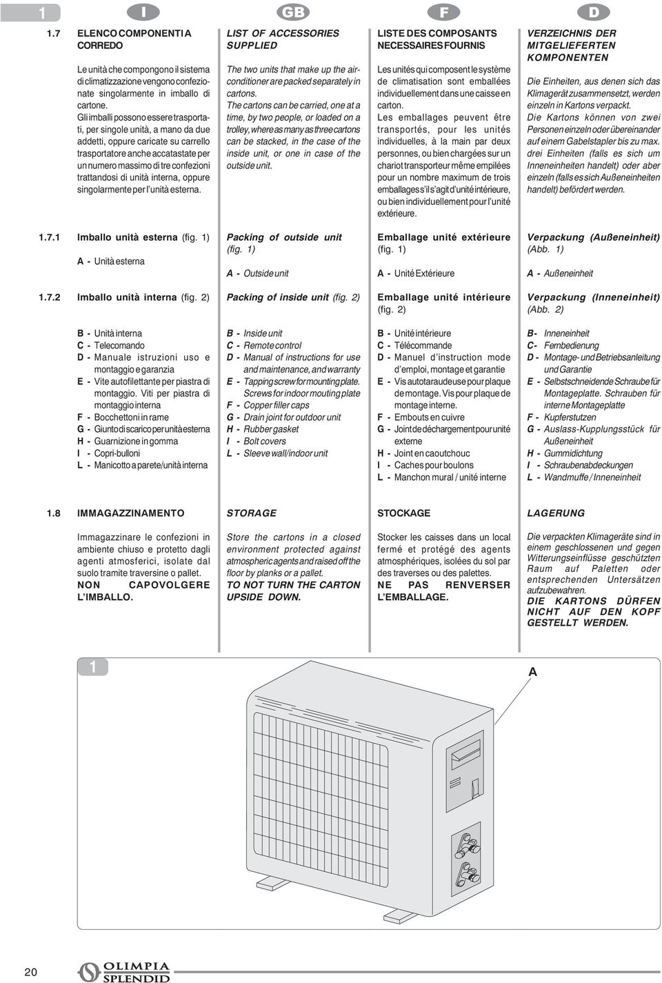 unità interna, oppure singolarmente per l unità esterna. LIST OF ACCESSORIES SUPPLIED The two units that make up the airconditioner are packed separately in cartons.