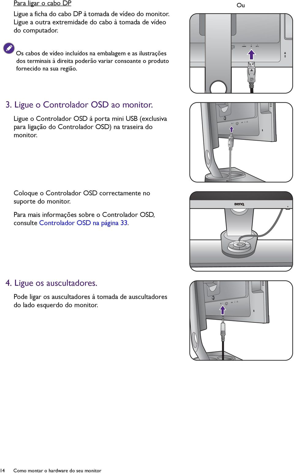 Ligue o Controlador OSD à porta mini USB (exclusiva para ligação do Controlador OSD) na traseira do monitor. Coloque o Controlador OSD correctamente no suporte do monitor.