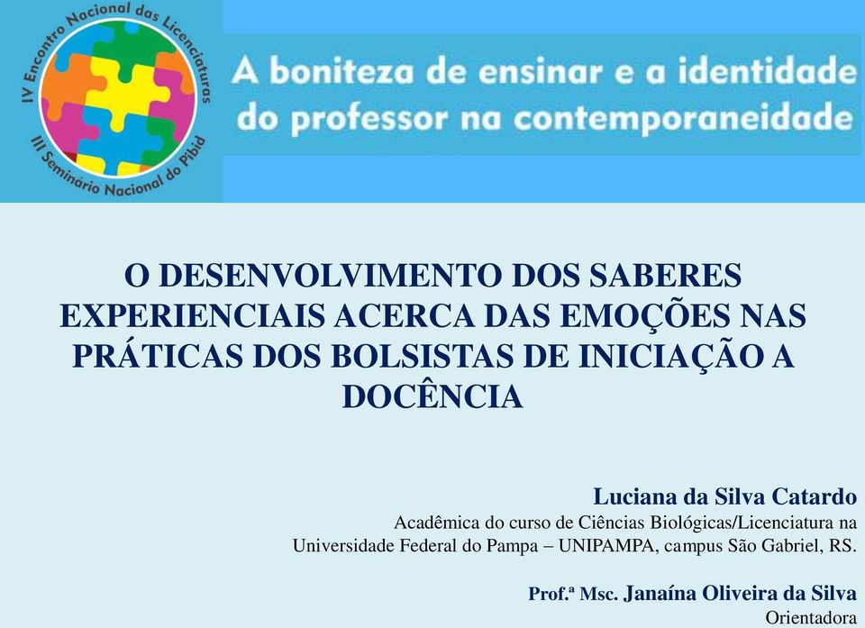 curso de Ciências Biológicas/Licenciatura na Universidade Federal do Pampa
