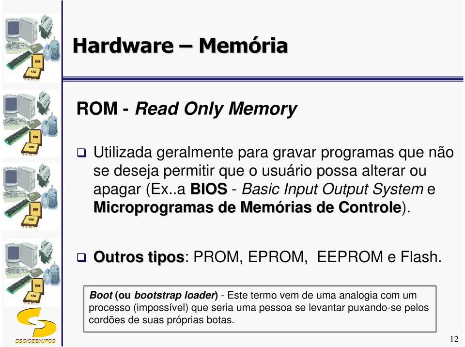 Outros tipos: PROM, EPROM, EEPROM e Flash.