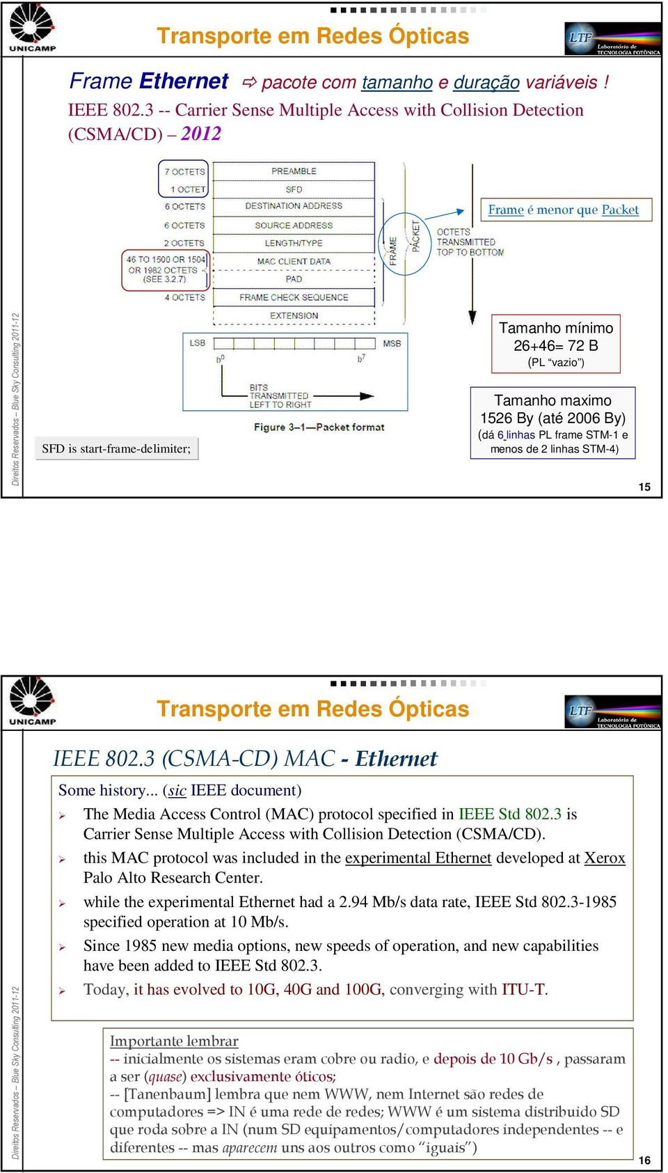 By) (dá 6 linhas PL frame STM-1 e menos de 2 linhas STM-4) 15 IEEE 802.3 (CSMA-CD) MAC -Ethernet Some history... (sic IEEE document) The Media Access Control (MAC) protocol specified in IEEE Std 802.