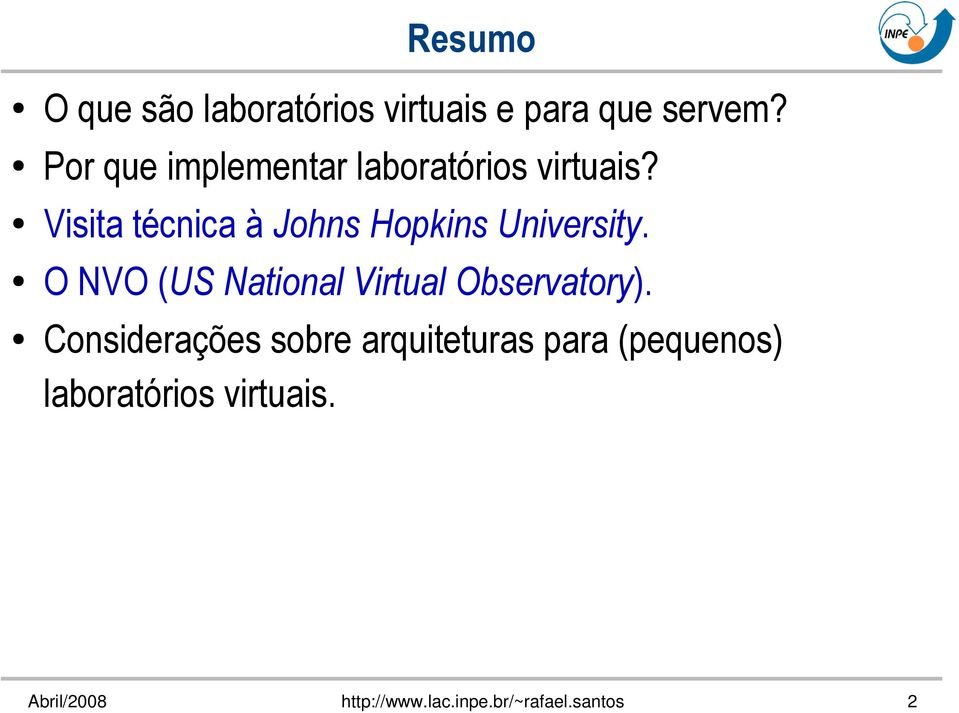 Visita técnica à Johns Hopkins University.