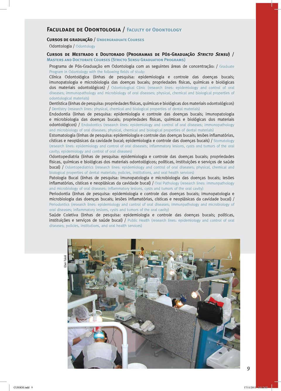 biológicas dos materiais odontológicos) / Odontological Clinic (research lines: epidemiology and control of oral diseases; immunopathology and microbiology of oral diseases; physical, chemical and