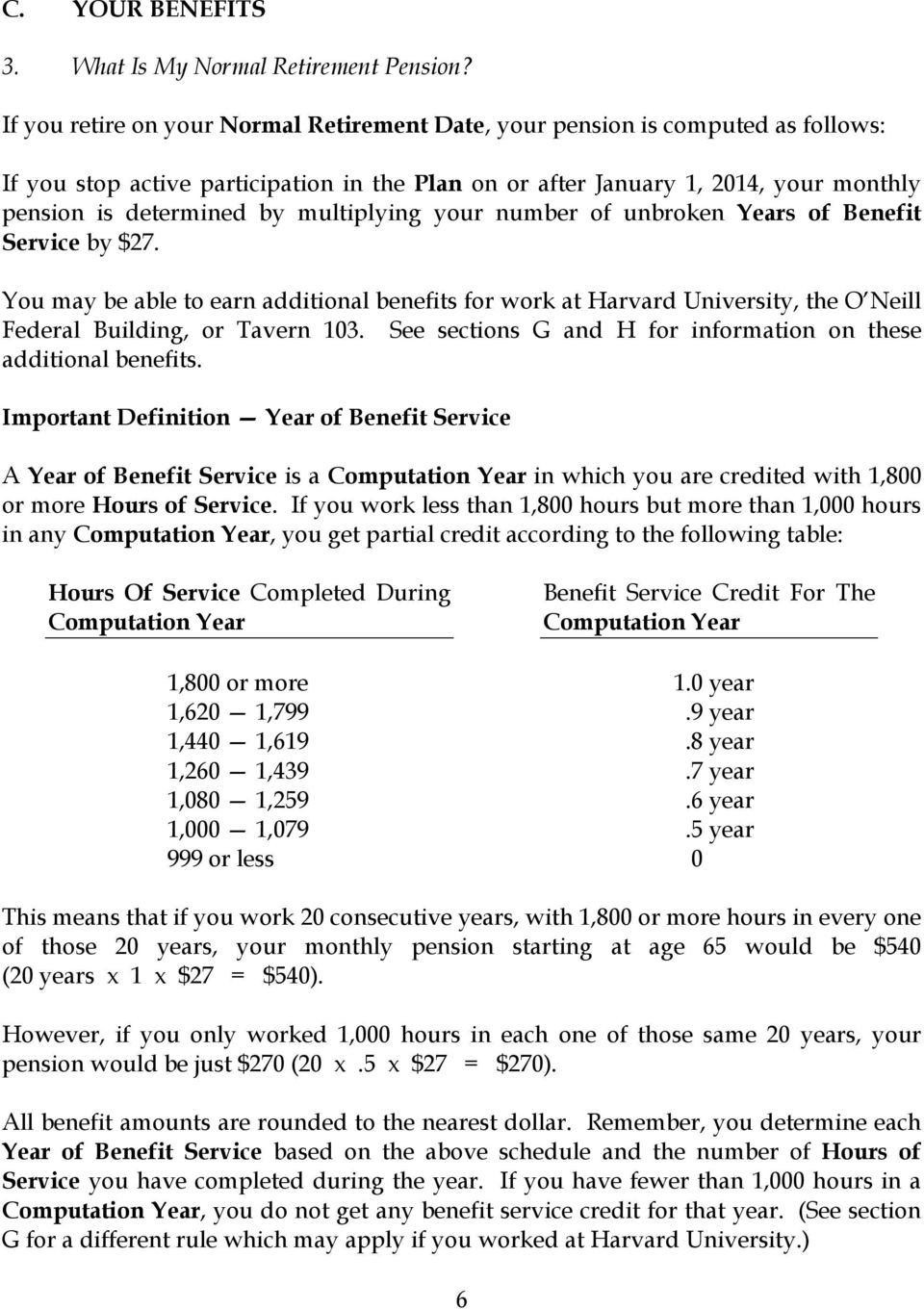 multiplying your number of unbroken Years of Benefit Service by $27. You may be able to earn additional benefits for work at Harvard University, the O Neill Federal Building, or Tavern 103.