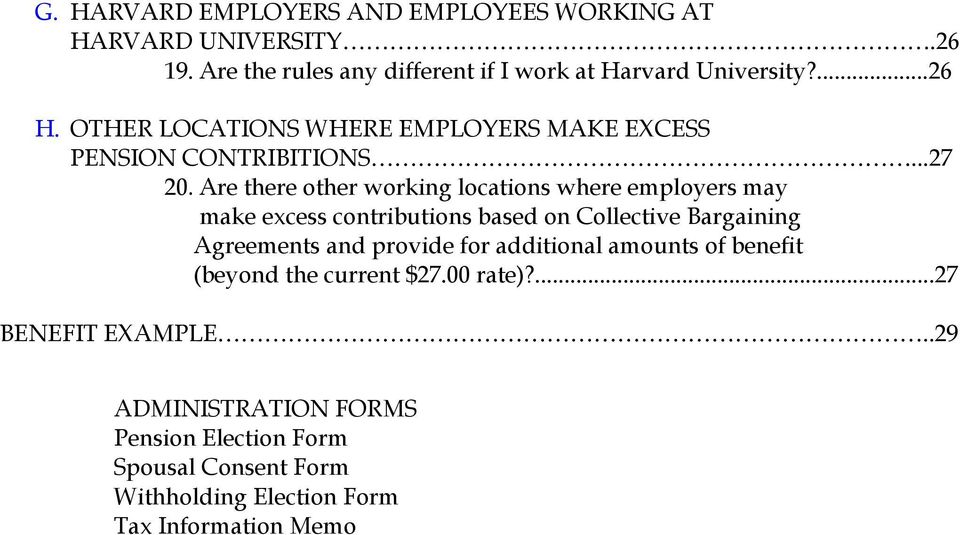 Are there other working locations where employers may make excess contributions based on Collective Bargaining Agreements and provide for
