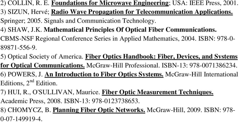 5) Optical Society of America. Fiber Optics Handbook: Fiber, Devices, and Systems for Optical Communications. McGraw-Hill Professional. ISBN-13: 978-0071386234. 6) POWERS, J.