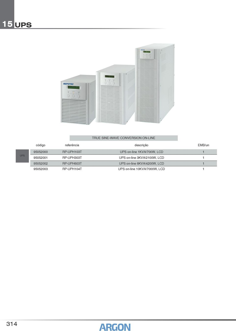 on-line 3KVA/2100W, LCD 1 95052002 RP-UPH603T on-line