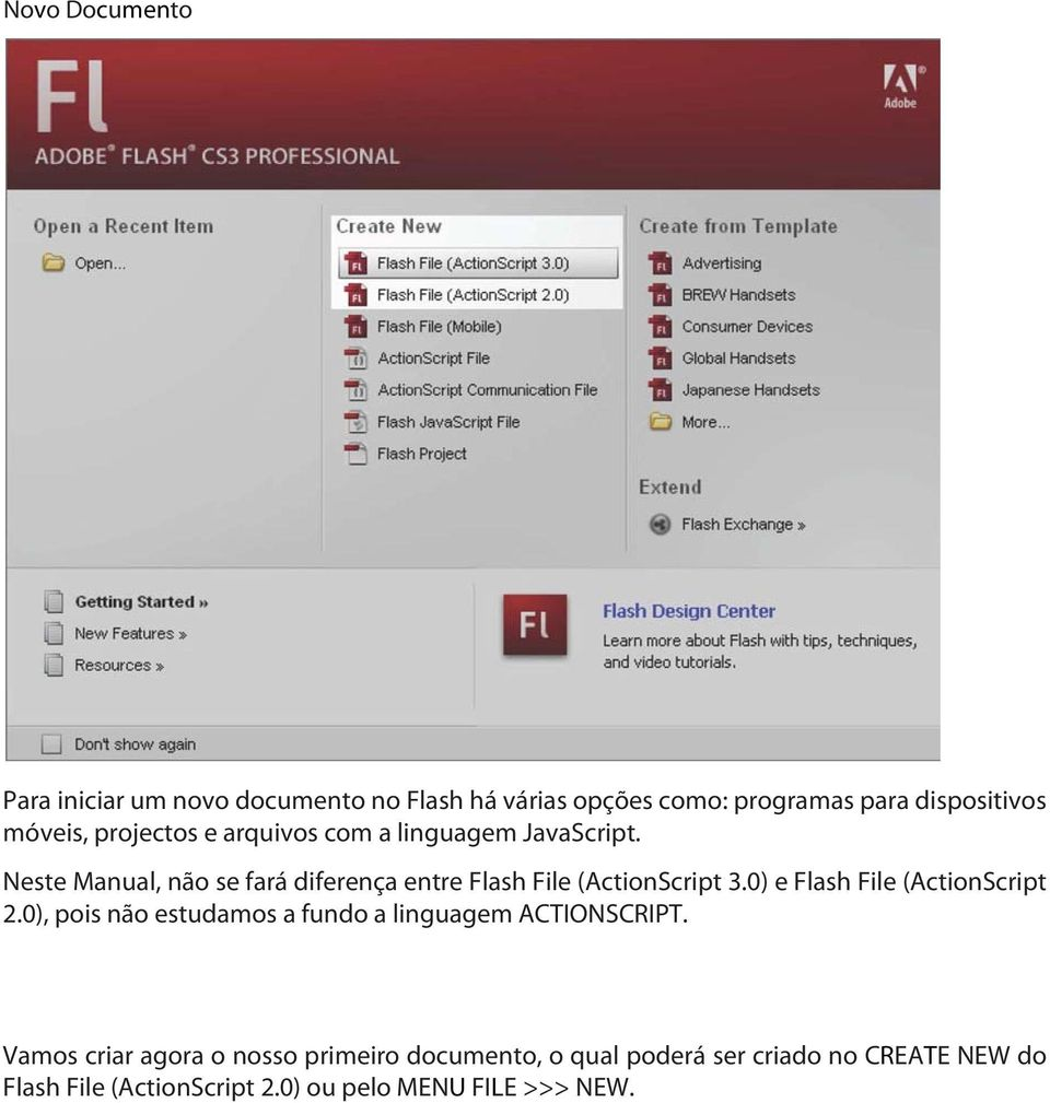 Neste Manual, não se fará diferença entre Flash File (ActionScript 3.0) e Flash File (ActionScript 2.