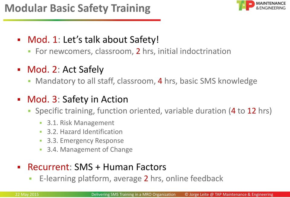 2: Act Safely Mandatory to all staff, classroom, 4 hrs, basic SMS knowledge Mod.
