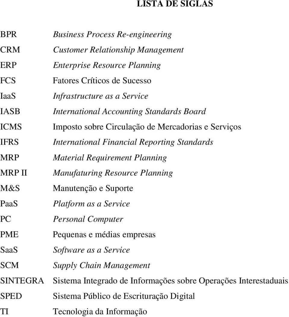 Requirement Planning MRP II Manufaturing Resource Planning M&S Manutenção e Suporte PaaS Platform as a Service PC Personal Computer PME Pequenas e médias empresas SaaS Software