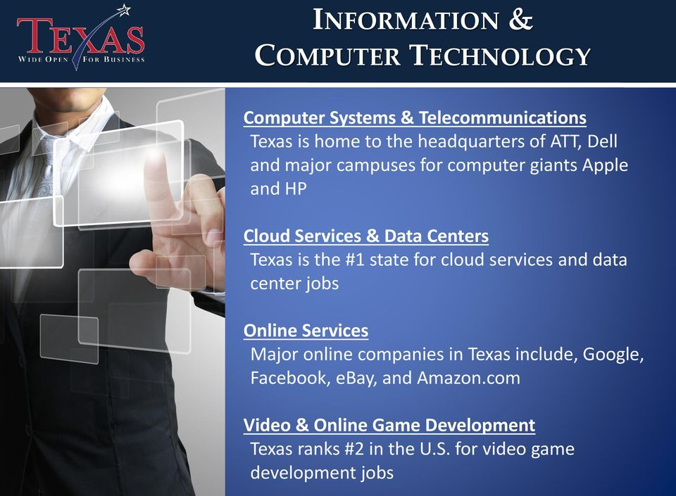 state for cloud services and data center jobs Online Services Major online companies in Texas include, Google,