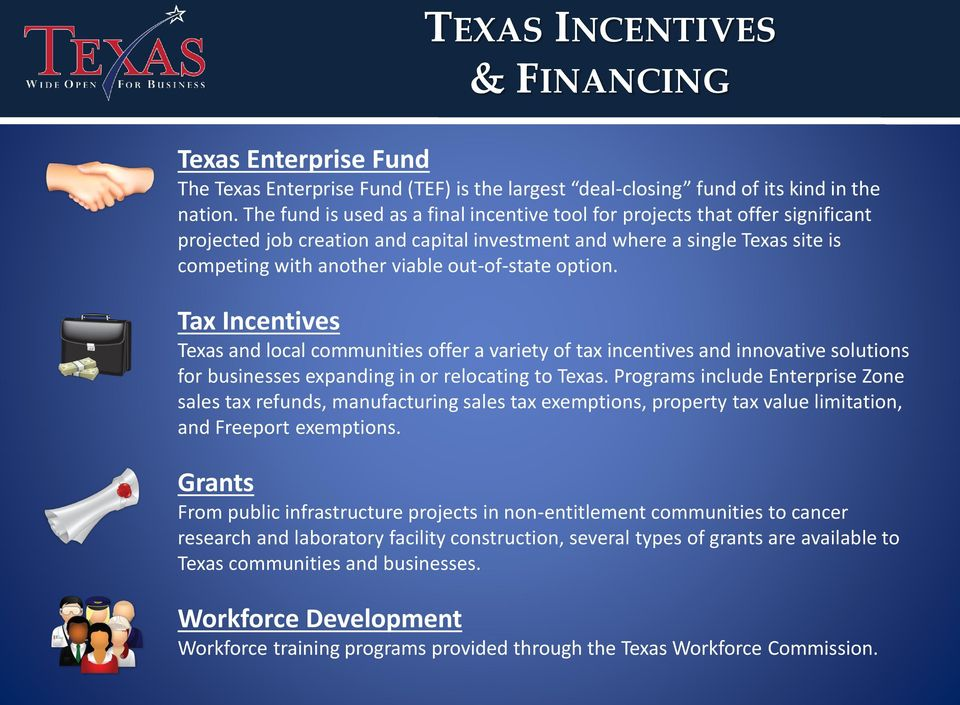 out-of-state option. Tax Incentives Texas and local communities offer a variety of tax incentives and innovative solutions for businesses expanding in or relocating to Texas.
