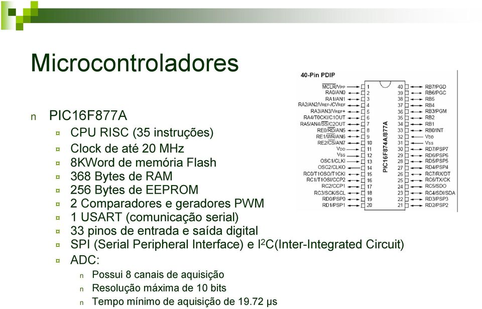 pinos de entrada e saída digital SPI (Serial Peripheral Interface) e I 2 C(Inter-Integrated