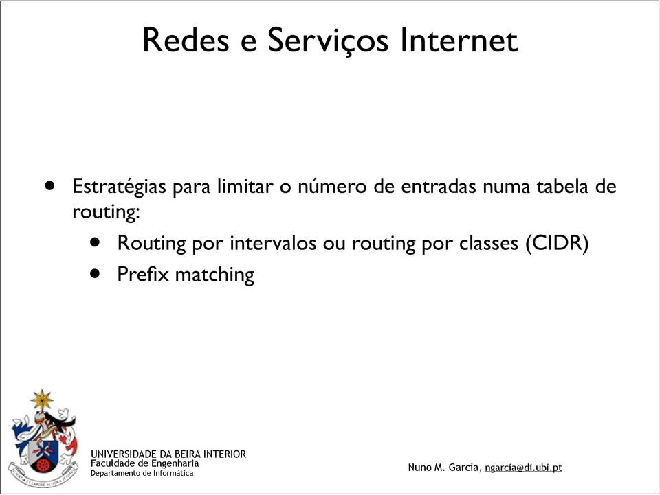 routing: Routing por intervalos ou