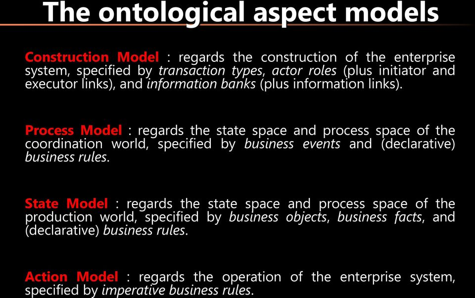 Process Model : regards the state space and process space of the coordination world, specified by business events and (declarative) business rules.