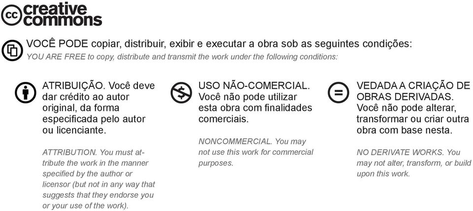 You must attribute the work in the manner specified by the author or licensor (but not in any way that suggests that they endorse you or your use of the work). USO NÃO-COMERCIAL.