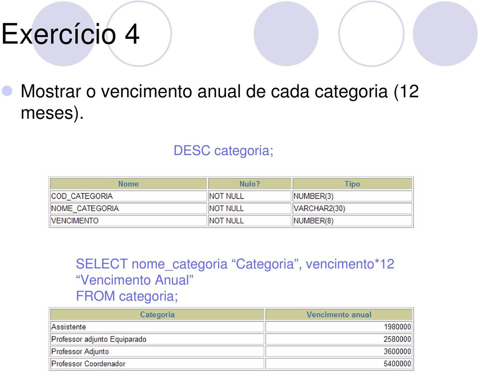 DESC categoria; SELECT nome_categoria