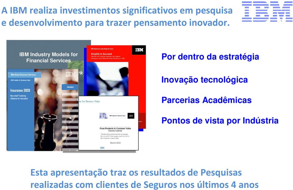IBM Industry Models for Financial Services The Information FrameWork (IFW) Overview Por dentro da