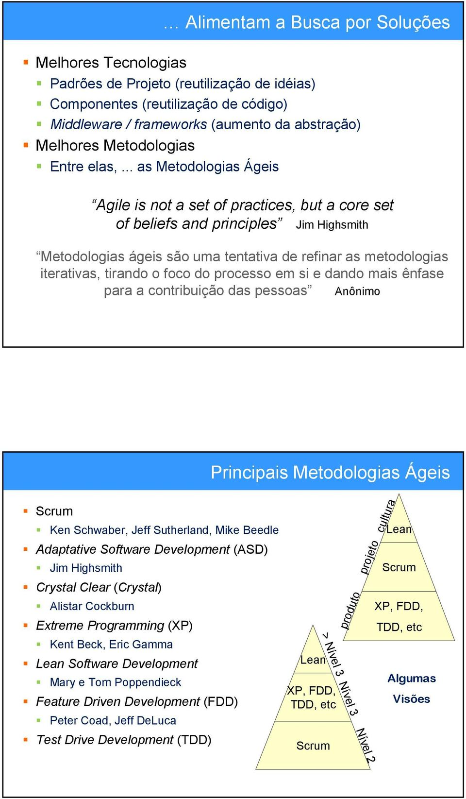 .. as Metodologias Ágeis Agile is not a set of practices, but a core set of beliefs and principles Jim Highsmith Metodologias ágeis são uma tentativa de refinar as metodologias iterativas, tirando o