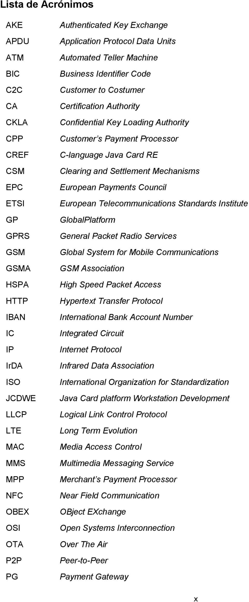 C-language Java Card RE Clearing and Settlement Mechanisms European Payments Council European Telecommunications Standards Institute GlobalPlatform General Packet Radio Services Global System for