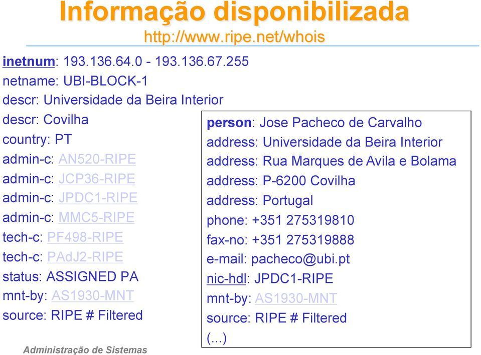 MMC5-RIPE tech-c: PF498-RIPE tech-c: PAdJ2-RIPE status: ASSIGNED PA mnt-by: AS1930-MNT source: RIPE # Filtered person: Jose Pacheco de Carvalho address:
