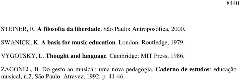 Thought and language. Cambridge: MIT Press, 1986. ZAGONEL, B.