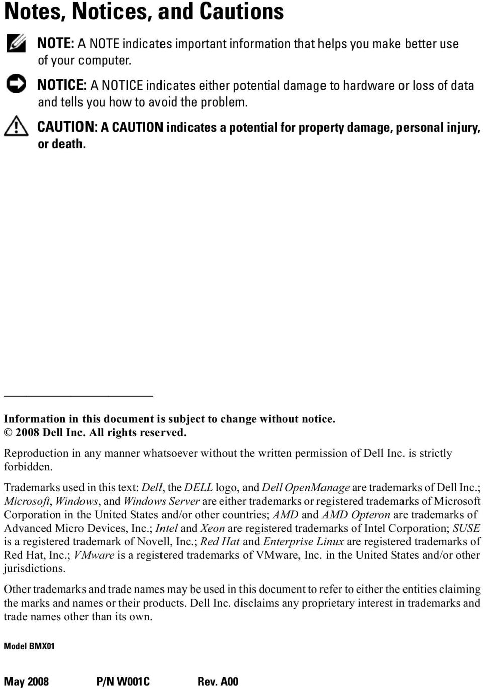 CAUTION: A CAUTION indicates a potential for property damage, personal injury, or death. Information in this document is subject to change without notice. 2008 Dell Inc. All rights reserved.