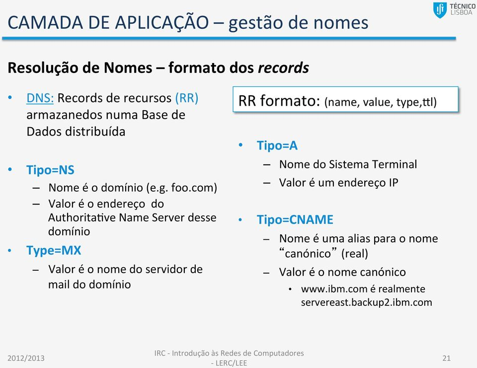 com) Valor é o endereço do AuthoritaNve Name Server desse domínio Type=MX Valor é o nome do servidor de mail do domínio RR
