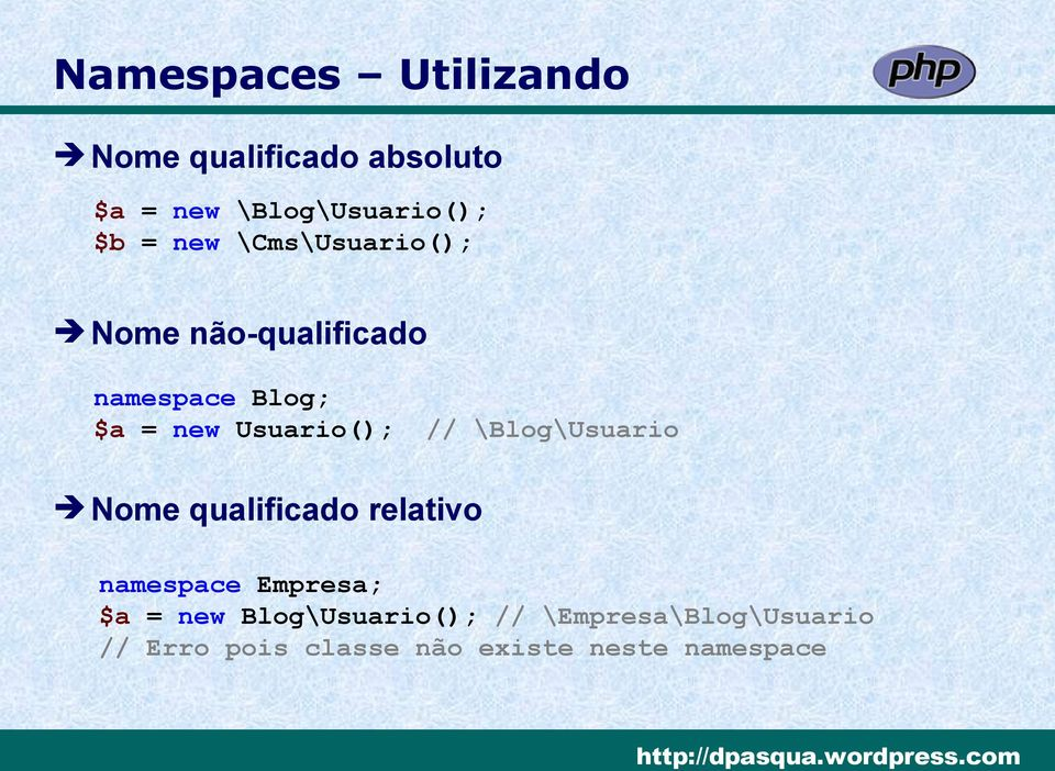 // \Blog\Usuario Nome qualificado relativo namespace Empresa; $a = new