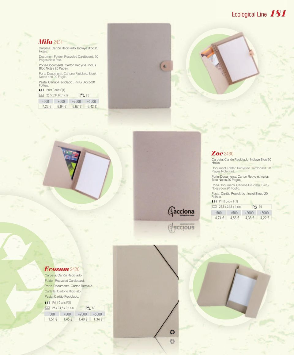 Incluye Bloc 20 Hojas. Document Folder. Recycled Cardboard. 20 Pages Note Pad. Porte-Documents. Carton Recyclé. Inclus Bloc Notes 20 Pages. Porta Documenti. Cartone Riciclato.