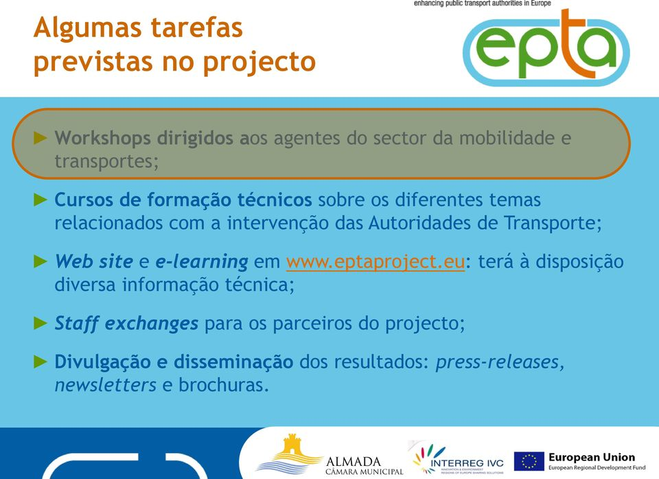 Transporte; Web site e e-learning em www.eptaproject.