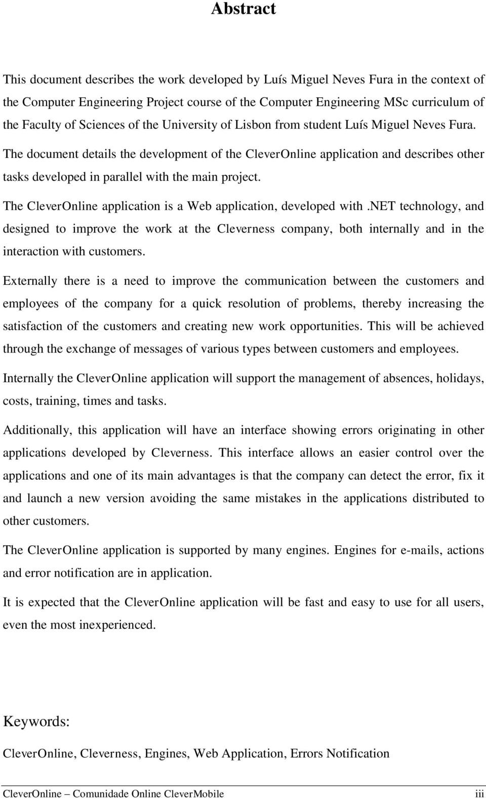 The document details the development of the CleverOnline application and describes other tasks developed in parallel with the main project.