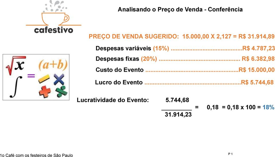787,23 Despesas fixas (20%)... R$ 6.382,98 Custo do Evento...R$ 15.