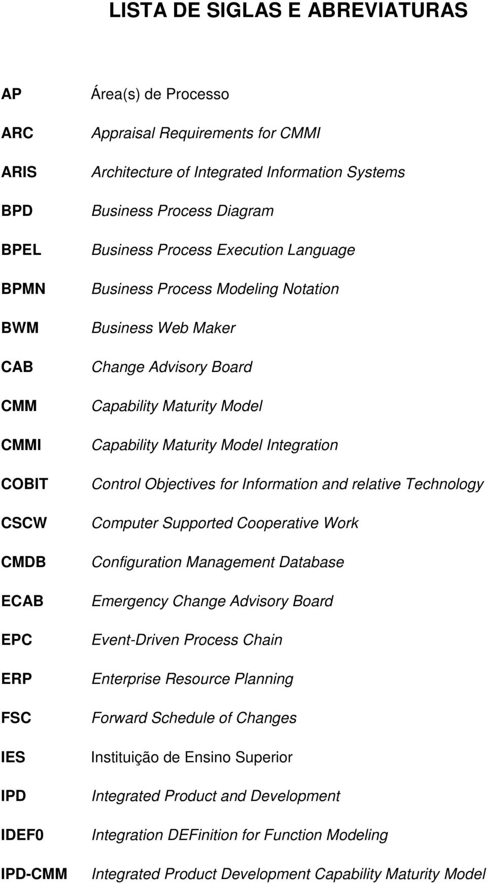 Capability Maturity Model Integration Control Objectives for Information and relative Technology Computer Supported Cooperative Work Configuration Management Database Emergency Change Advisory Board