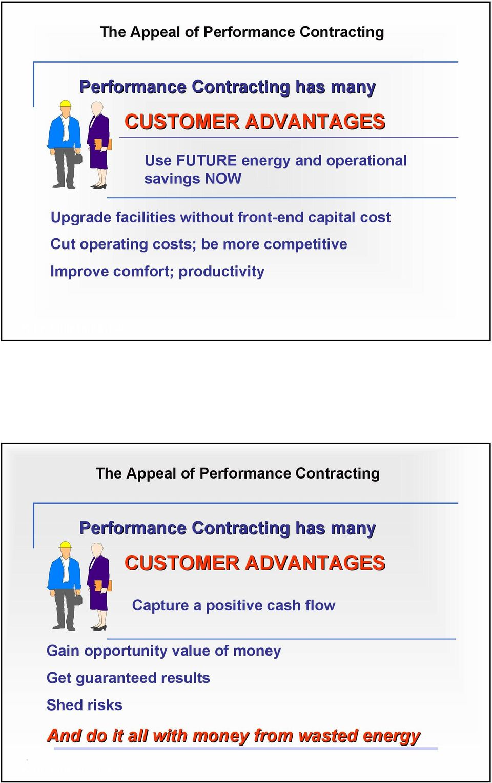 Improve comfort; productivity The Appeal of Performance Contracting Performance Contracting has many CUSTOMER ADVANTAGES