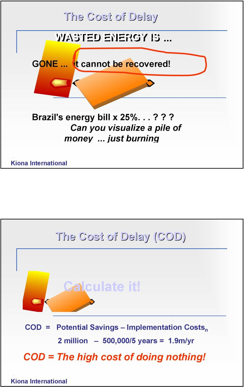 .. just burning. The Cost of Delay (COD) Calculate it!