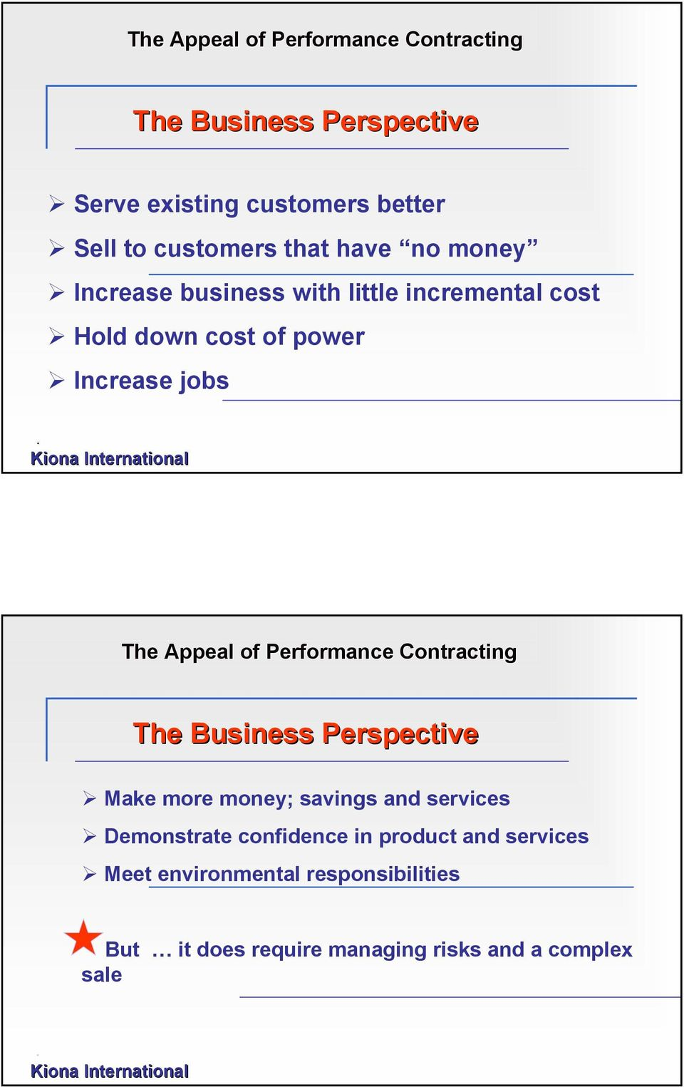 The Appeal of Performance Contracting The Business Perspective Make more money; savings and services Demonstrate