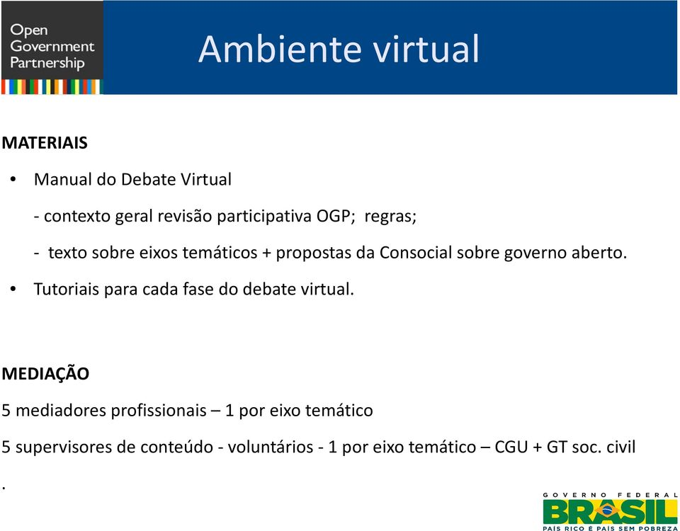 Tutoriais para cada fase do debate virtual.