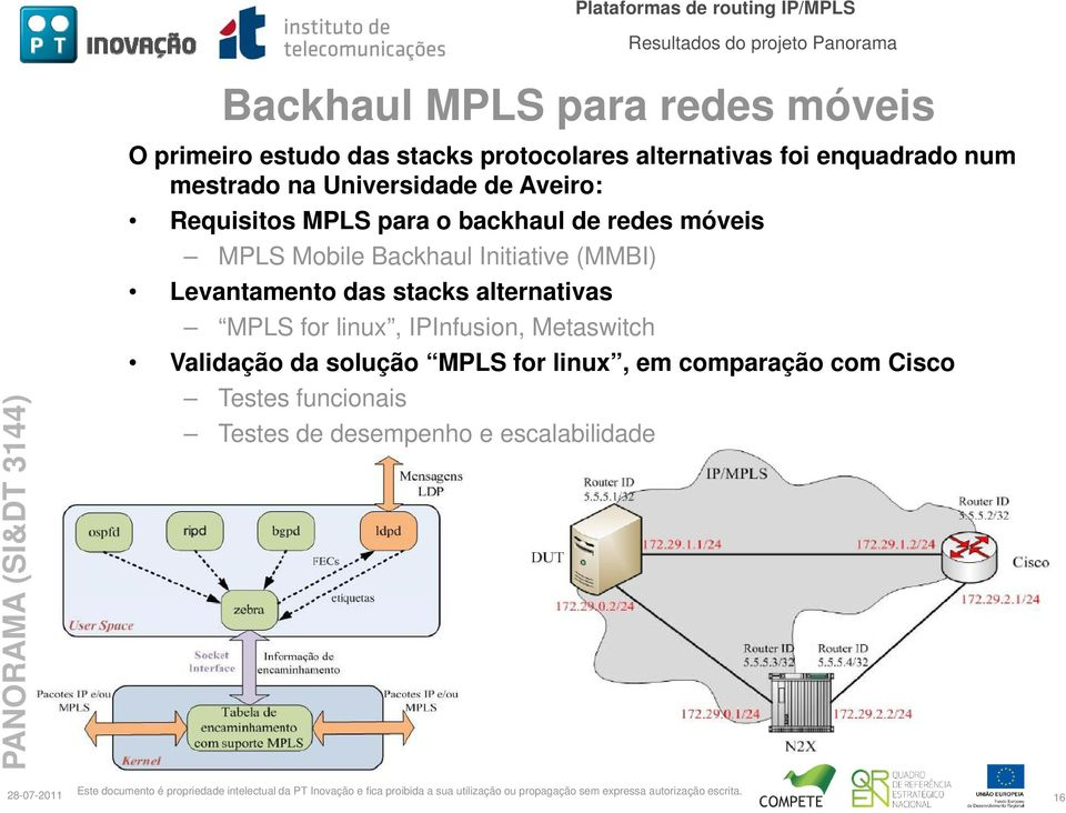 Backhaul Initiative (MMBI) Levantamento das stacks alternativas MPLS for linux, IPInfusion, Metaswitch Validação