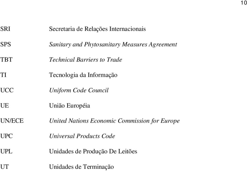 da Informação Uniform Code Council União Européia United Nations Economic Commission