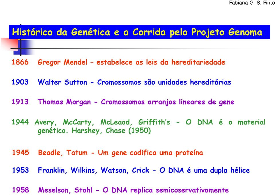McCarty, McLeaod, Griffith s - O DNA é o material genético.