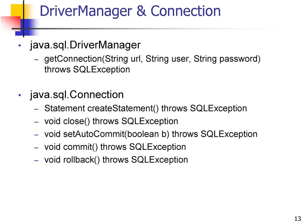 SQLException java.sql.