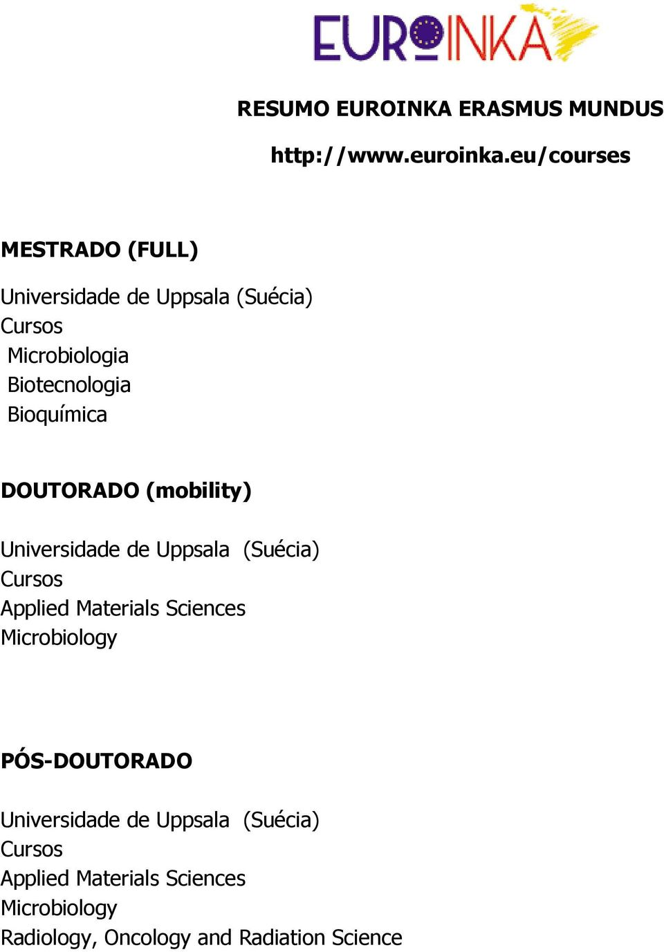 DOUTORADO (mobility) Cursos Applied Materials Sciences Microbiology