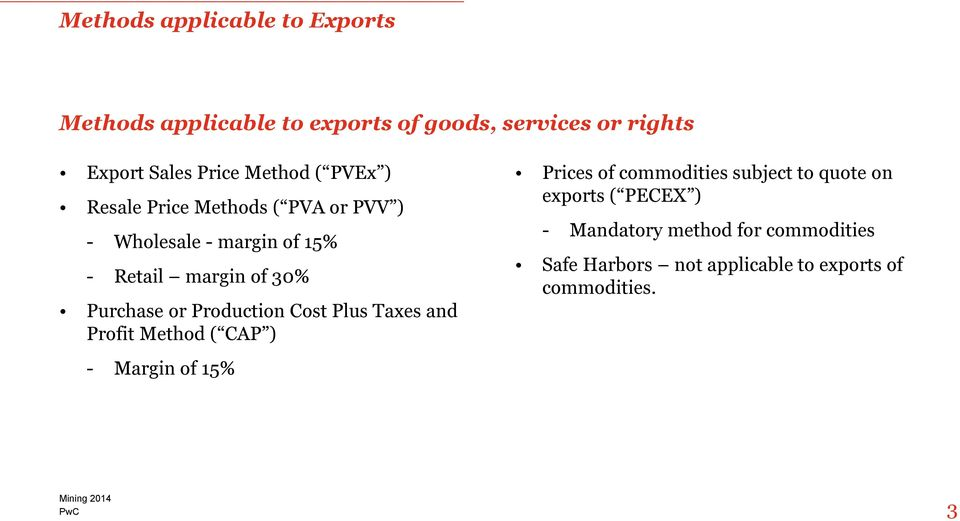 Purchase or Production Cost Plus Taxes and Profit Method ( CAP ) - Margin of 15% Prices of commodities subject