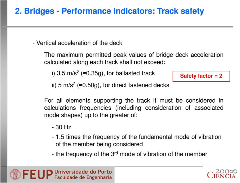 50g), for direct fastened decks Safety factor = 2 For all elements supporting the track it must be considered in calculations frequencies (including