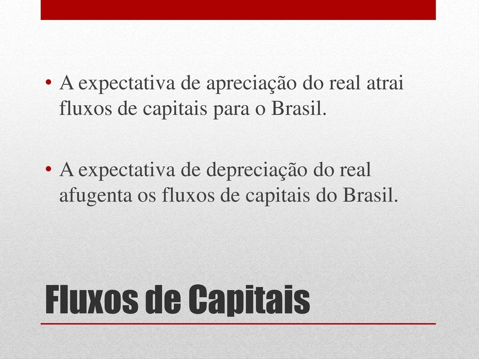 A expectativa de depreciação do real
