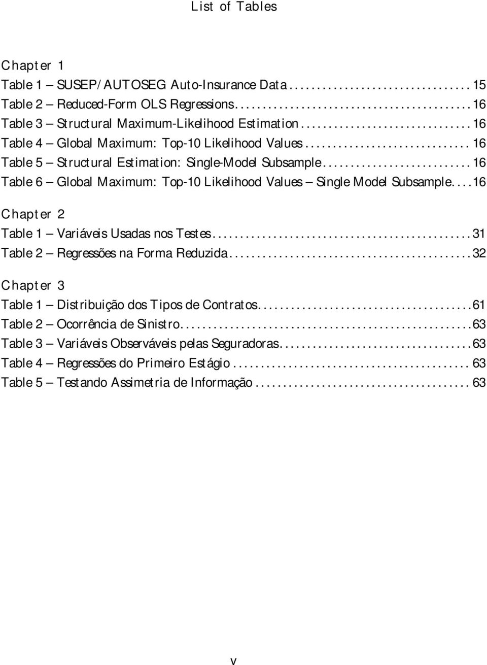 .......................... 16 Table 6 Global Maximum: Top-10 Likelihood Values Single Model Subsample....16 Chapter 2 Table 1 Variáveis Usadas nos Testes............................................... 31 Table 2 Regressões na Forma Reduzida.