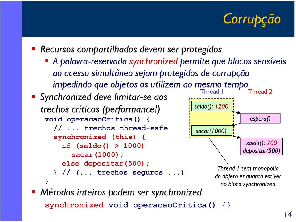 .. trechos thread-safe synchronized (this) { if (saldo() > 1000) sacar(1000); else depositar(500); // (... trechos seguros.